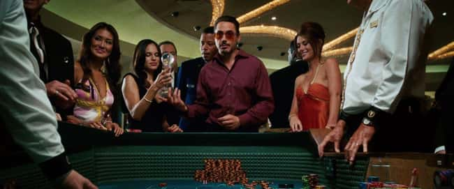 The music in the casino is the theme from the 1960 Iron Man Cartoon.