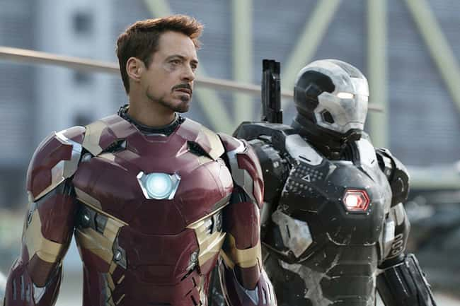 The War Machine lands shaking the camera, implying his suit is heavier than Iron Man's.