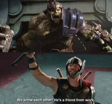 The 'He's A Friend From Work' Line From 'Ragnarok' Was Suggested By A Kid