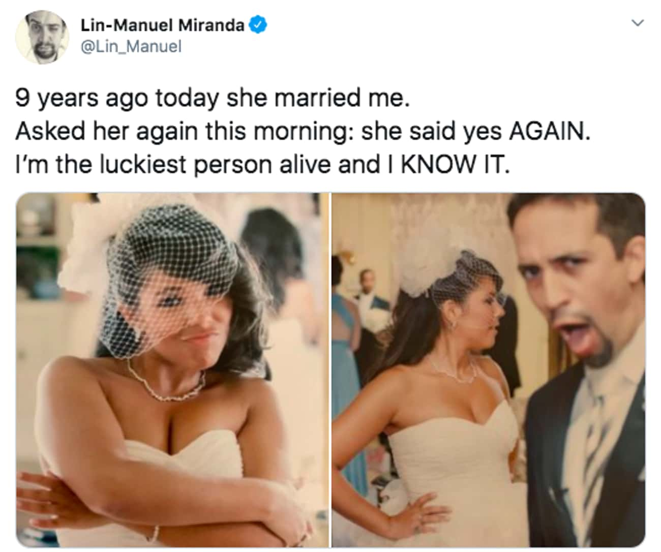The Luckiest Man Alive is listed (or ranked) 4 on the list 27 Lin-Manuel Miranda Tweets That Prove He Is Just As Amazing On Twitter As He Is On Stage
