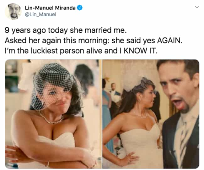 The Luckiest Man Alive ... is listed (or ranked) 2 on the list 27 Lin-Manuel Miranda Tweets That Prove He Is Just As Amazing On Twitter As He Is On Stage
