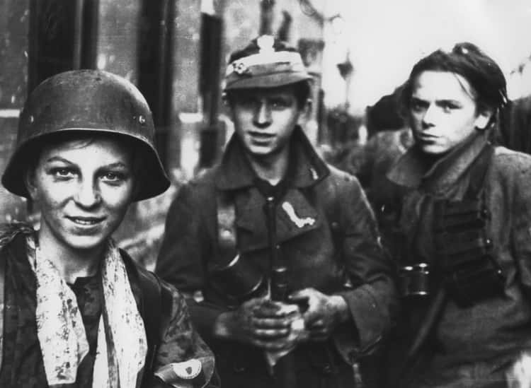 Tadeusz Rajszczak With Fellow Polish Teenage Soldiers During Warsaw Uprising, 1944