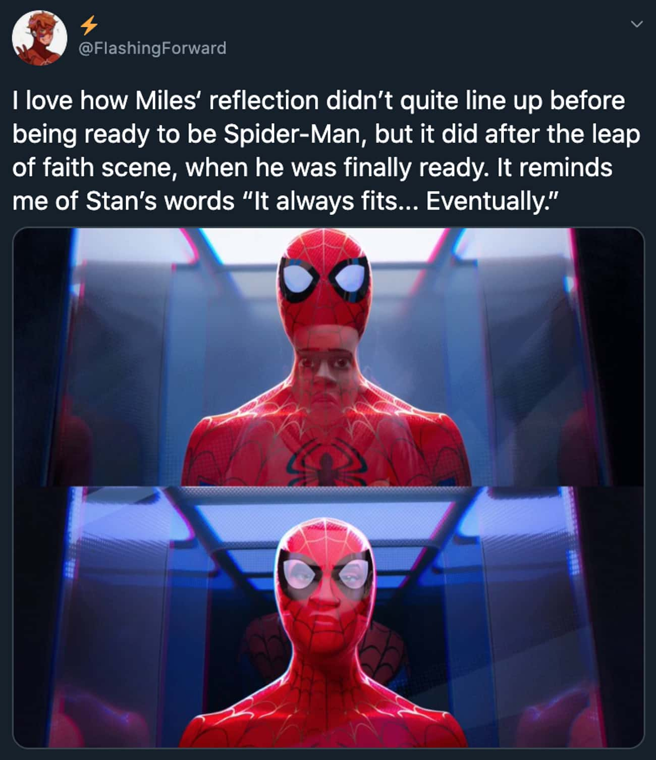 Miles' Reflection is listed (or ranked) 1 on the list 34 Small But Poignant Details From 'Spider-Man: Into The Spider-Verse' That Fans Discovered