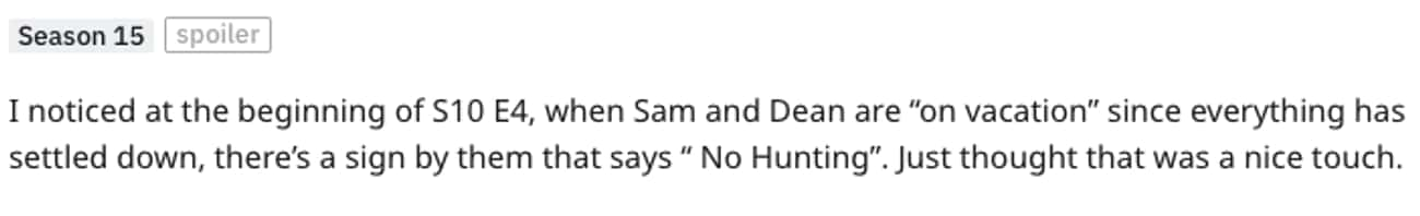 Nice Touch is listed (or ranked) 3 on the list Small But Poignant Details That Fans Noticed About 'Supernatural'