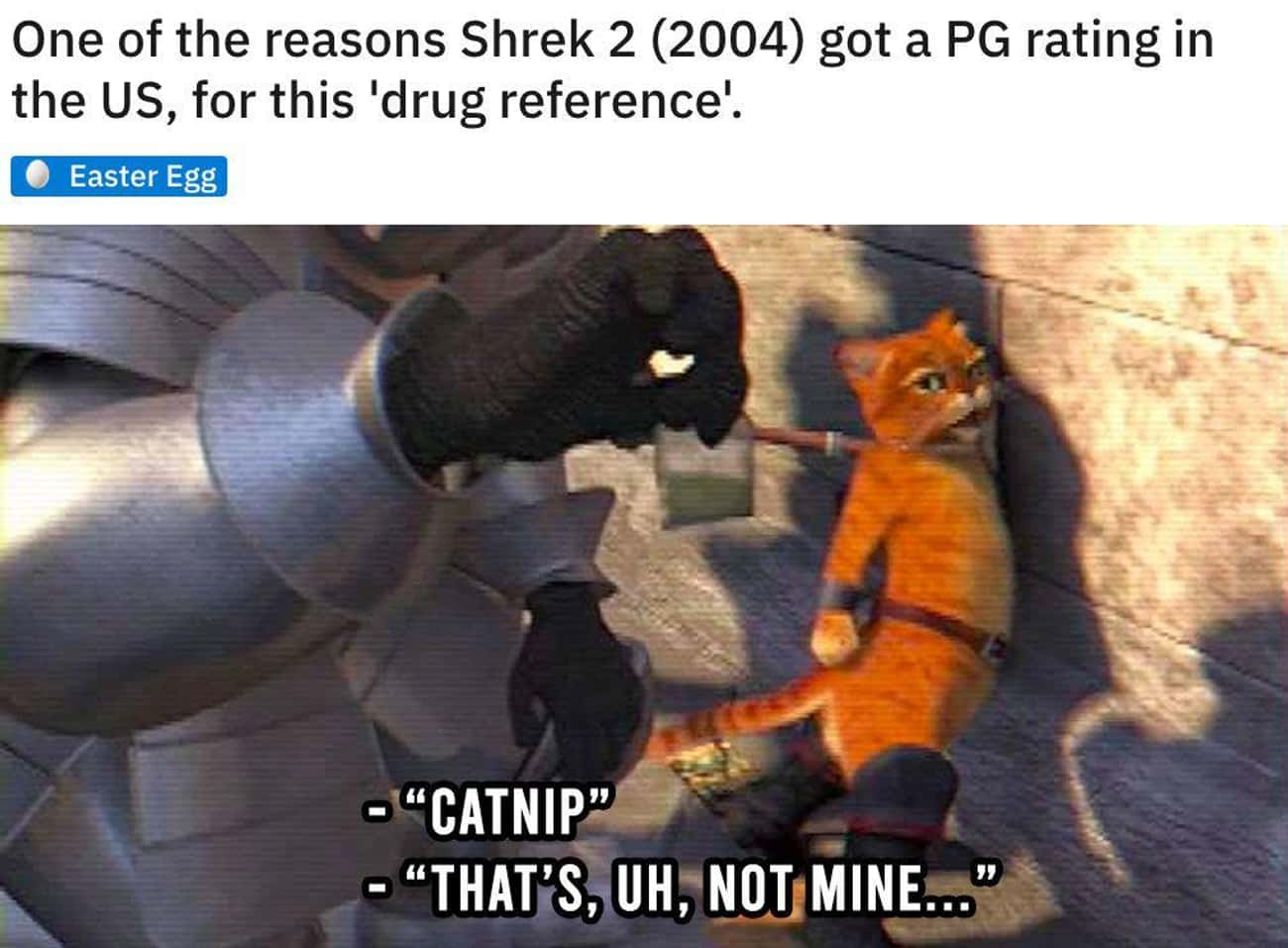 Caught With The Cat Nip is listed (or ranked) 4 on the list 24 Small But Poignant Details Fans Noticed About The 'Shrek' Movies