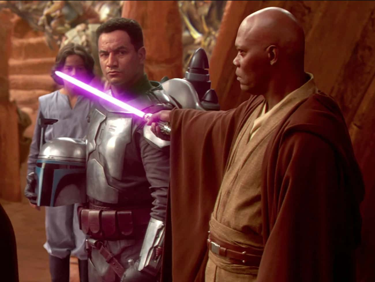 Mace Windu's Lightsaber is listed (or ranked) 3 on the list 21 Small But Poignant Details About 'Star Wars: Episode II - Attack Of The Clones'