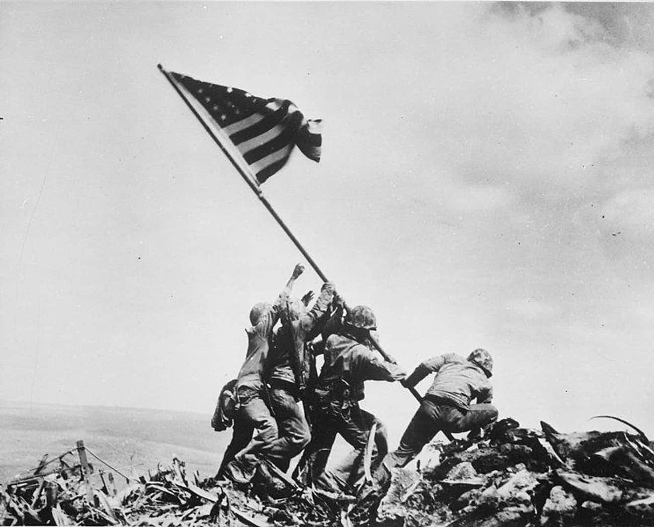 1945: 'Raising the Flag on Iwo is listed (or ranked) 1 on the list Pulitzer Prize-Winning Photographs And The Stories Behind Them