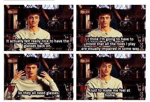 Daniel Radcliffe On Glasses on Random Behind The Scenes Harry Potter Moments That Were So Wizardly Wholesome