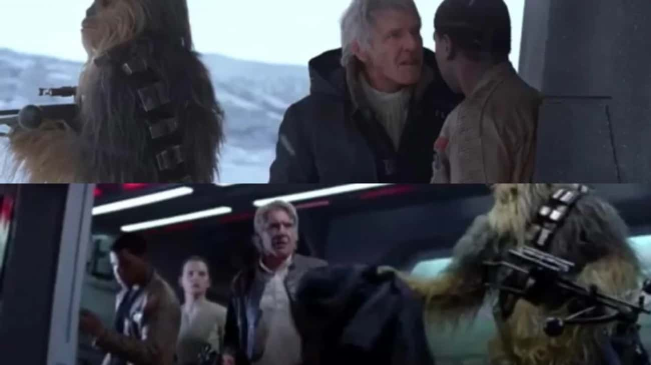Chewie Hands Han His Jacket Ba is listed (or ranked) 4 on the list 18 Small But Fascinating Details From 'Star Wars: The Force Awakens'