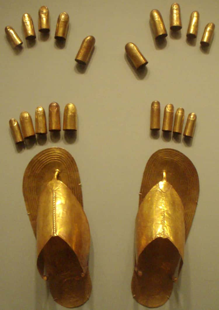 Gold Sandals And Toe Coverings