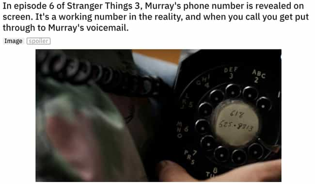 Call Murray is listed (or ranked) 4 on the list 21 Small But Shocking Details From 'Stranger Things'