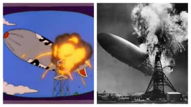 The Duff Blimp Suffers The Sam is listed (or ranked) 1 on the list Famous Historical Photos Recreated By 'The Simpsons'