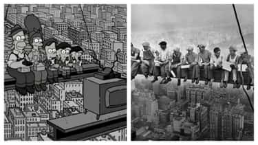 A Couch Gag Recreates A Famous is listed (or ranked) 2 on the list Famous Historical Photos Recreated By 'The Simpsons'