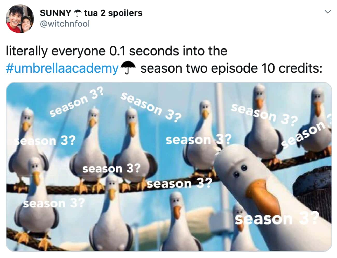 Season 3? is listed (or ranked) 3 on the list 30 Super Reactions To Season 2 Of 'The Umbrella Academy'