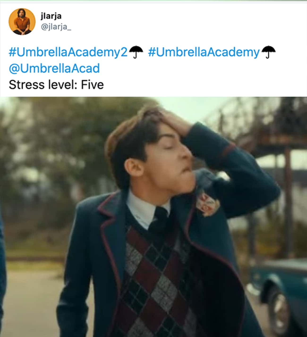 Stress Level is listed (or ranked) 2 on the list 30 Super Reactions To Season 2 Of 'The Umbrella Academy'