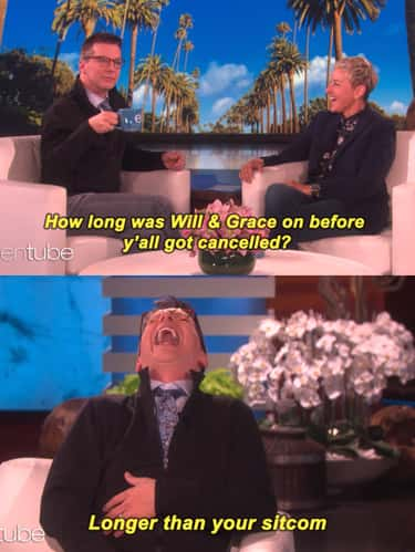 Sean Hayes Threw The Jabs Righ is listed (or ranked) 1 on the list 11 Times Celebs Clapped Back At Ellen DeGeneres