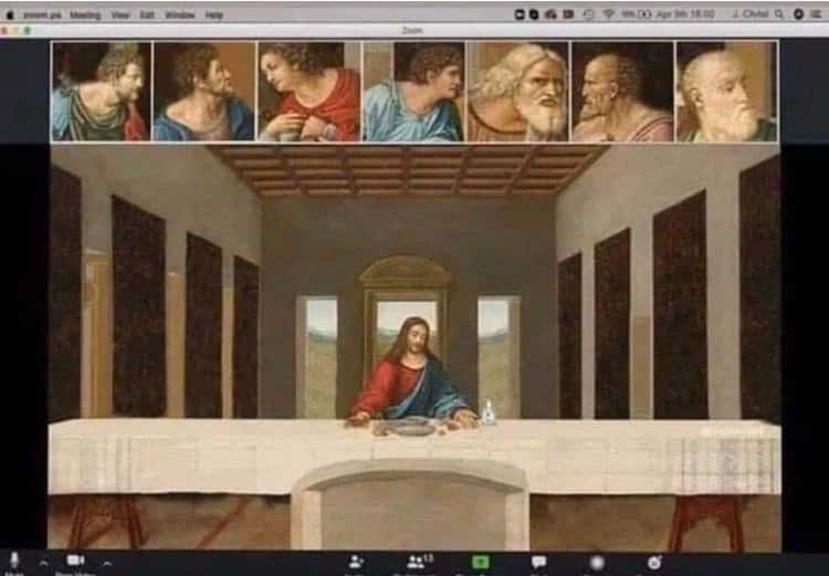 Who's Zooming Who? is listed (or ranked) 22 on the list 27 Biblical Memes That Would Have Blown Up The Last Supper Group Chat