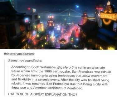 San Fransokyo Is An Alternate  is listed (or ranked) 2 on the list 14 Poignant Details Fans Noticed About 'Big Hero 6'