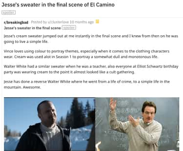 Sweater is listed (or ranked) 1 on the list 16 Subtle Jesse Pinkman Details That Fans Noticed In 'Breaking Bad'