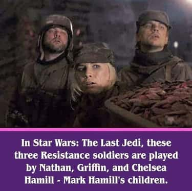 Mark Hamill's Children Make Ca is listed (or ranked) 1 on the list 22 Fascinating Details From 'Star Wars: The Last Jedi' That Belong In The Sacred Texts