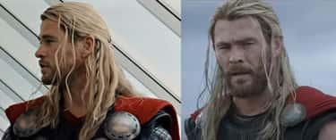 In 'Avengers: Age of Ultron' and part of 'Ragnarok,' Thor has a strain of Loki's hair braided into his own