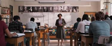 We see Bruce Banner's picture on Peter's classroom board along with other fantastic scientists.