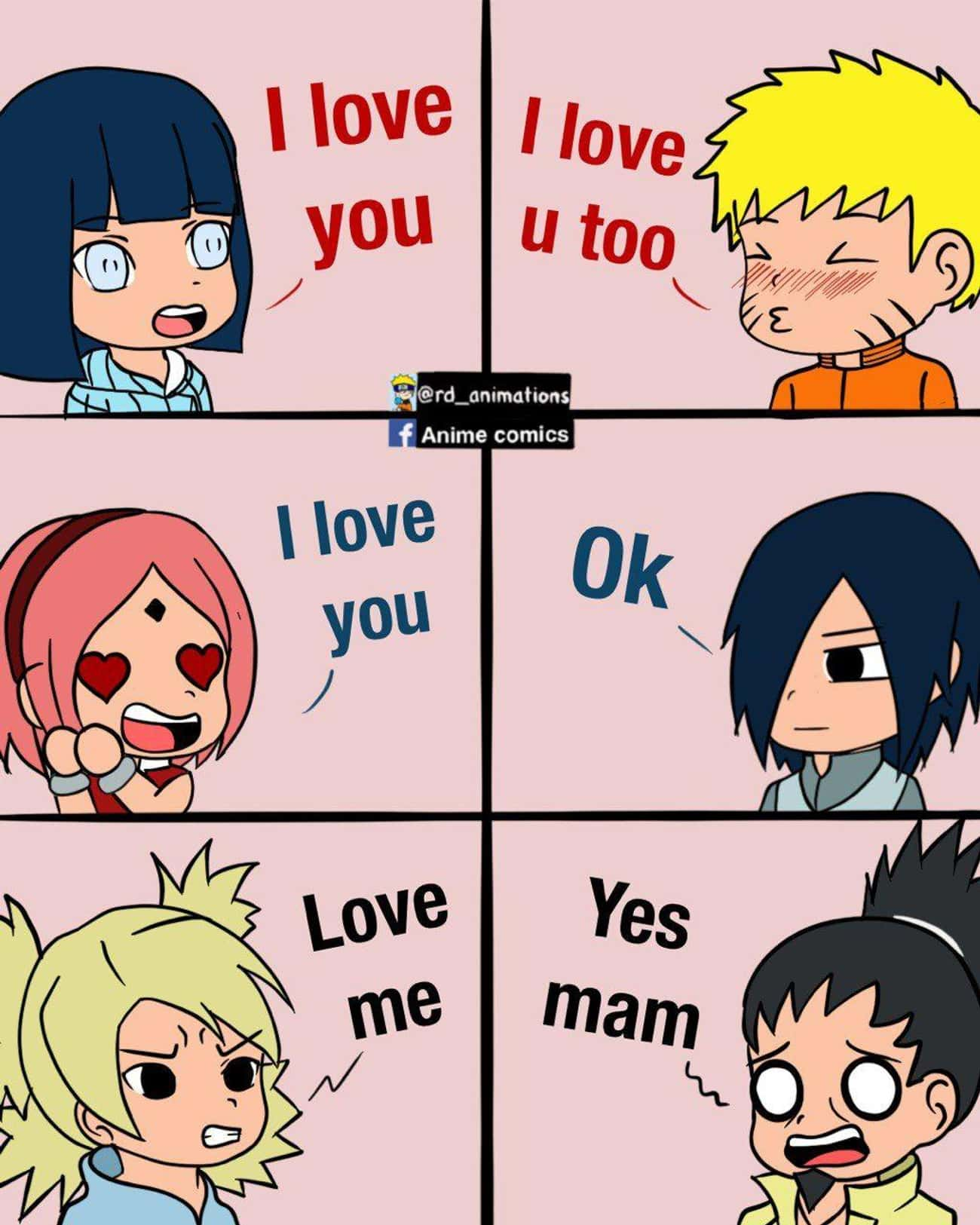 There Are 3 Types Of Couples is listed (or ranked) 3 on the list 13 Funny Memes About Shikamaru and Temari's Relationship
