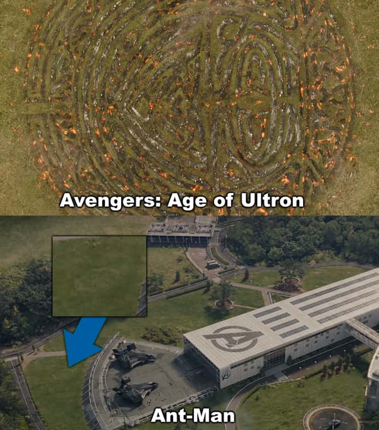 A shot of the symbol Thor left in the grass upon returning to Asgard at the end of 'Avengers: Age of Ultron' can be seen when Scott visits the Avengers Campus.