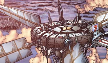 The Seven Fly Around In A Sky Base In The Comics