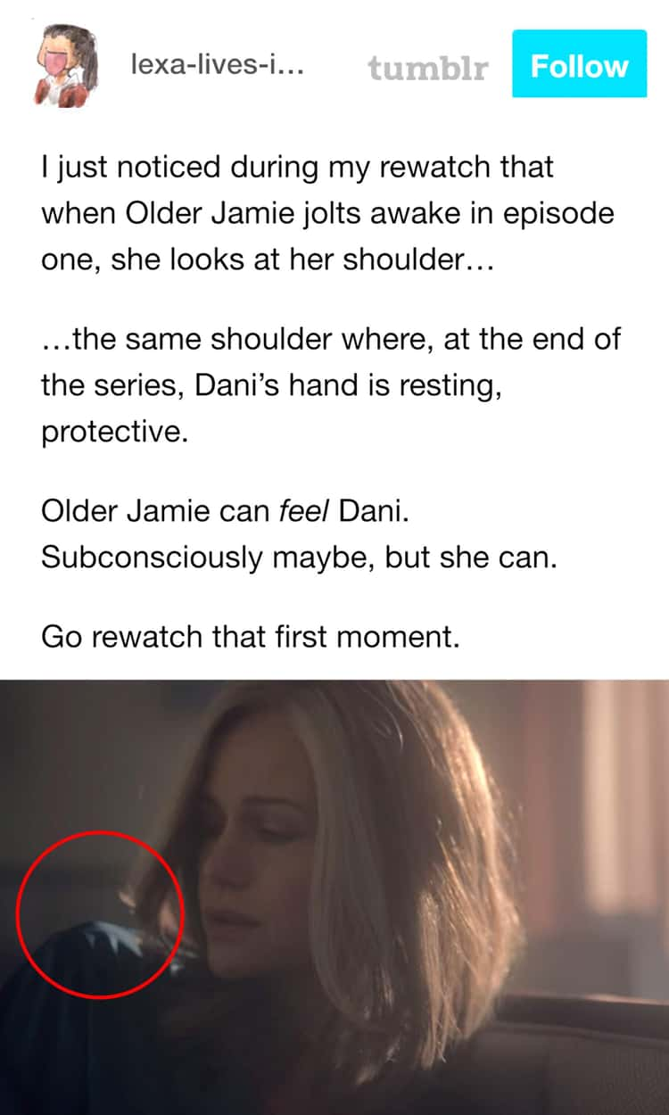 (Older) Jamie Looks For Dani's Hand In The First Scene