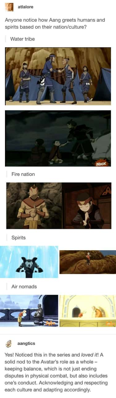 People seem to love the Avatar's role as they notice him acknowledging and respecting each culture as he greets them based on their culture or nation.
