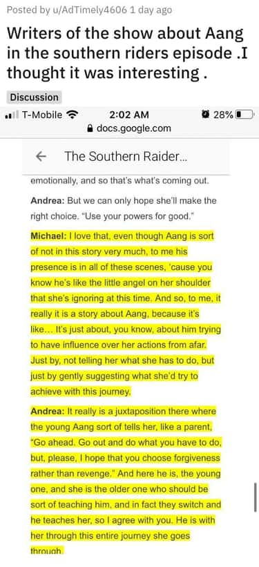. Writers of the show Avatar talk about the Southern Riders episode and the impact that Aang has on the show and Katara's actions.