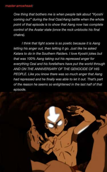 Pro-Aang: 21 Posts That Made Us Regret Ignoring His Character Arc 21. Aang lets his anger out on the Anniversary of the genocide of his people