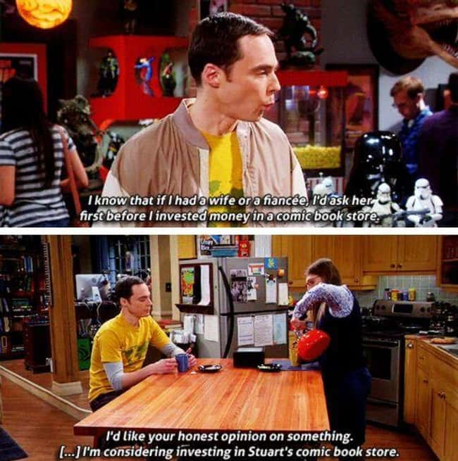 Sheldon taking important life advices from Amy