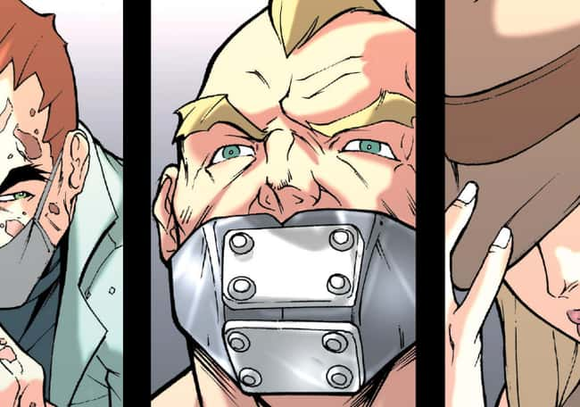 5. Block appeared in one issue of Marvel Comics. By the end of the issue, he's dead. There's no way a metal mouth guard could possibly be comfortable. He must have a difficult time breathing.