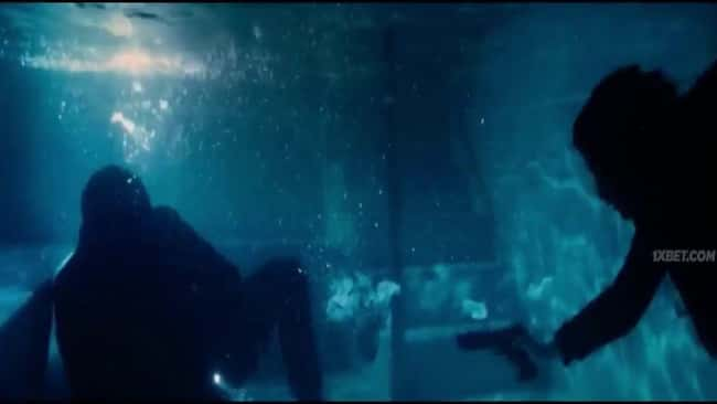 14. John Wick and an enemy fall into a pool in John Wick: Chapter 3 – Parabellum (2019), and Wick moves about three feet away just before being shot. The bullets become ineffective at this range, similar to how a typical pistol round behaves underwater.