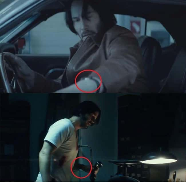 """13. Before the action begins in John Wick (2014), John wears his wristwatch as usual. However, when he enters """"battle mode,"""" he wears them face inside the wrist, as soldiers typically do."""
