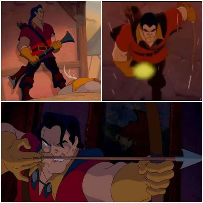 6. Gaston used his bow instead of his blunderbuss in the final confrontation with the Beast in Beauty and the Beast (1991) because it was raining, and the gunpowder would have gotten wet, rendering it useless.