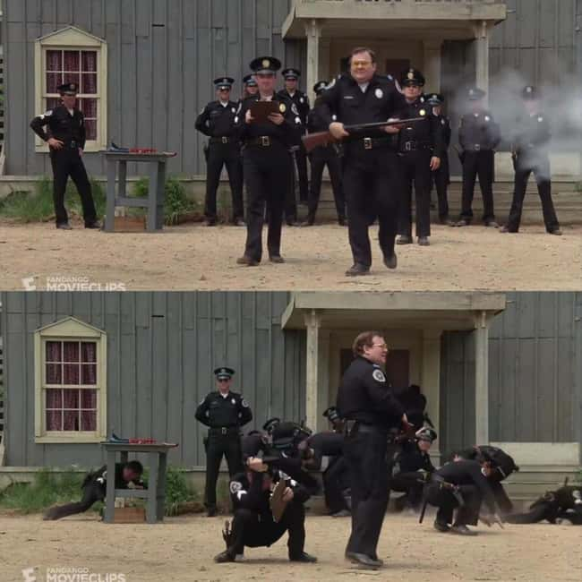 11. Barbara, a cadet in Police Academy (1984), misfires and foolishly points the gun at the other cadets. Cadet Tackleberry, the only one who didn't seek cover, is a gun nut who knew the shotgun hadn't been cocked, and there was no round chambered so that it couldn't be fired again.
