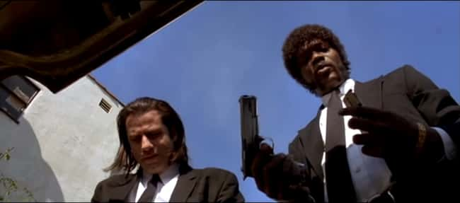 4. While Jules' routine for gun preparation in Pulp Fiction (1994) includes putting on the safety. Vincent's does not. Vincent accidentally (and hilariously) discharges his weapon later in the film due to his lack of preparation.