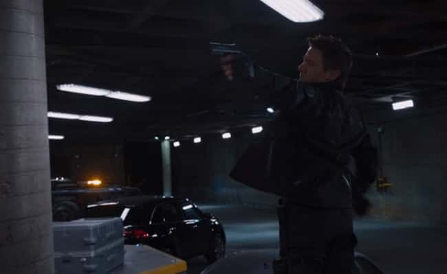 7. Even though Hawkeye is firing a gun at Maria Hill in The Avengers (2012), he positions his body with his shoulder blades far back, just as if he were firing a bow and arrow. The traditional 'cup and saucer' method.