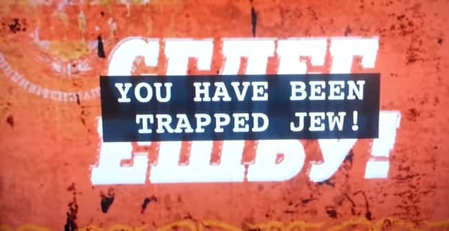 """9. In the language selection screen for theBorat (2006) DVD, the screen flashes, and """"Jew in facility"""" is repeated if you choose Hebrew. The subtitles read, 'You have been trapped, Jew! Keep your claws where they can be seen. Do not attempt to shift your shape.'"""