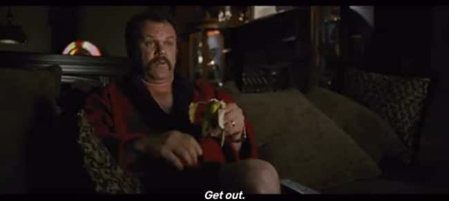 6. When Cal Naughton, Jr. calls Ricky Bobby about Bobby's former mansion making noises with Naughton in it in Talladega Nights: The Ballad of Ricky Bobby (2006), the noise it makes after the call ends is 'get out,' as confirmed by the closed captions.