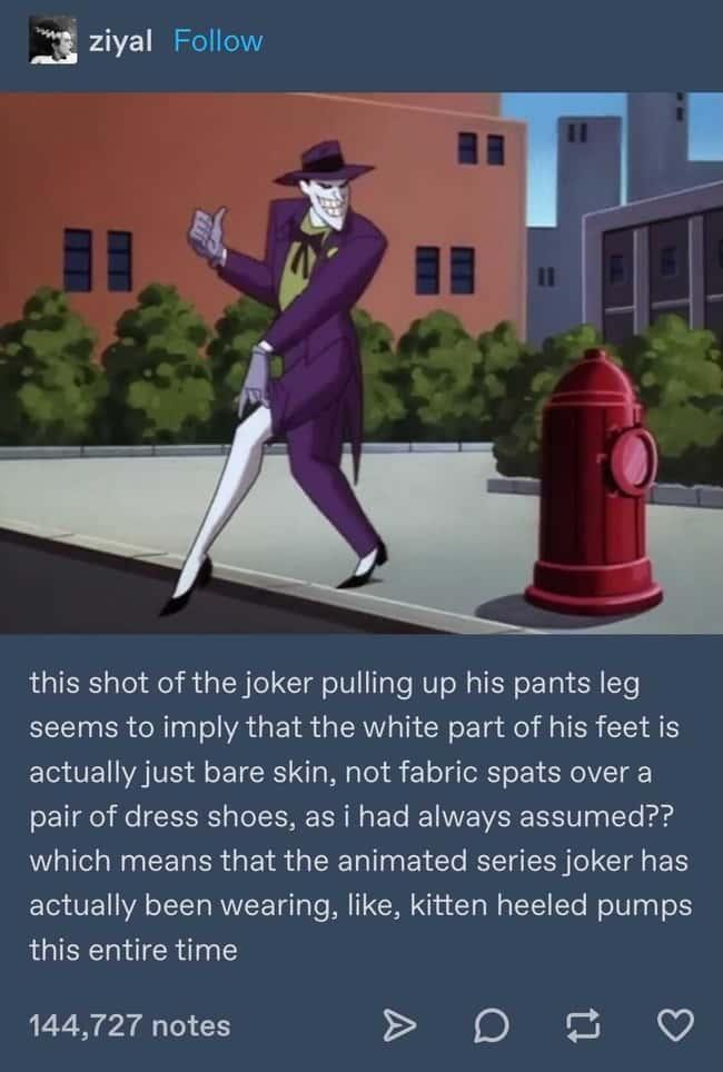 Joker wearing Kitten heeled pumps