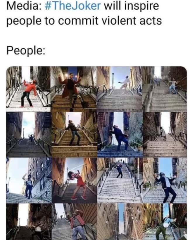 People imitating Joker