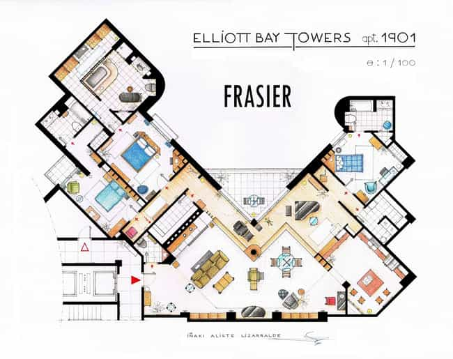 Frasier is listed (or ranked) 3 on the list The Coolest TV Floorplans