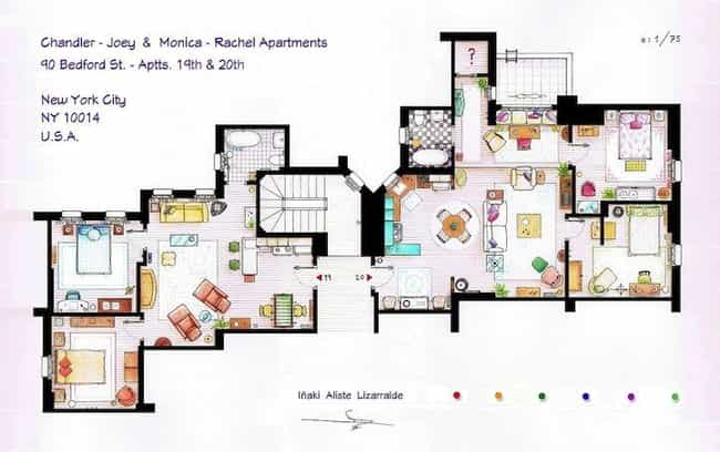 Friends is listed (or ranked) 2 on the list The Coolest TV Floorplans