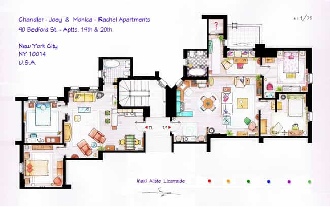 cool floor plan apartment. Friends is listed  or ranked 1 on the list The Coolest TV Floorplans List of Cool Fictional Apartments Houses