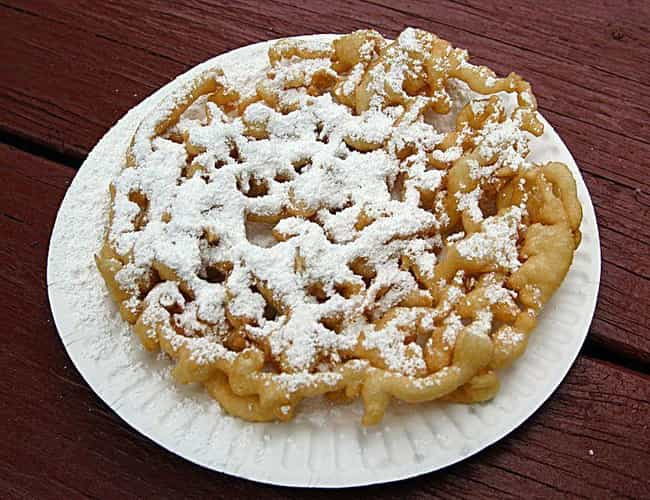 Funnel cake is listed (or ranked) 1 on the list The Craziest, Most Delicious Fair Food