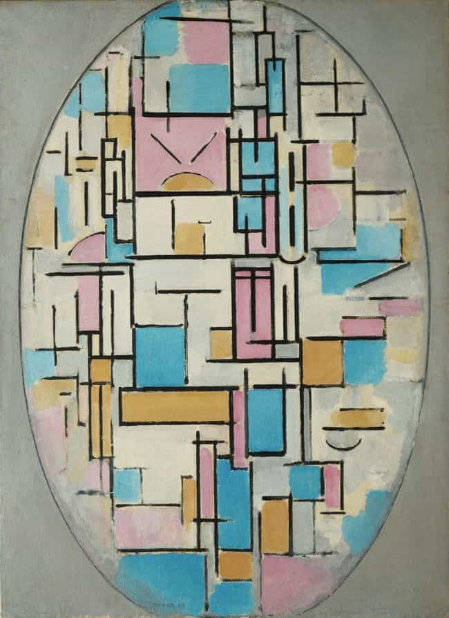 Composition in Oval with... is listed (or ranked) 4 on the list Famous Piet Mondrian Paintings